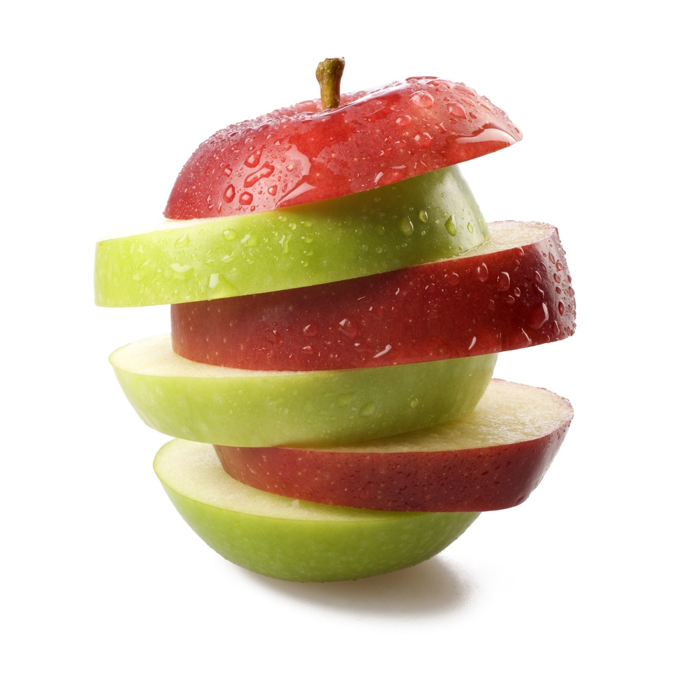 Apple slices made up of red and green on top of each other