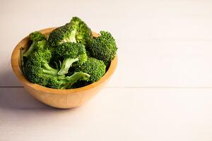 High angle view of fresh broccoli on the table